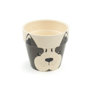 Vaso de Cerâmica com Suporte de Metal Cachorro Face Marrom