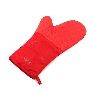 Luva Silicone e Algodão Vermelha 35 cm