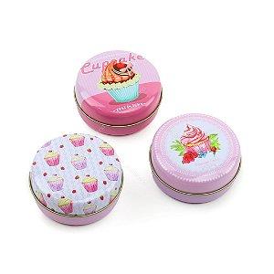 Kit 3 Latinhas Redondas Médias Cupcakes Rosa