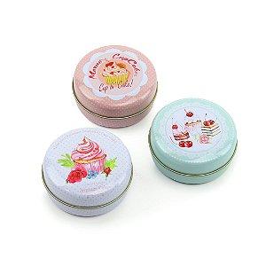 Kit 3 Latinhas Redondas Médias Sweet Cupcakes