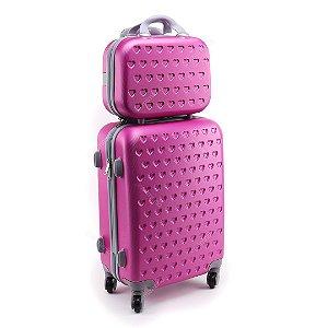 Kit Mala de Viagem com Rodinhas e Frasqueira Love Pink