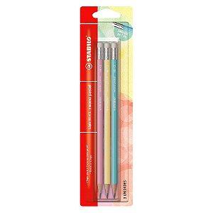 Kit Lápis Stabilo HB Pastel com 3 Cores (Rosa, Azul e Amarelo)