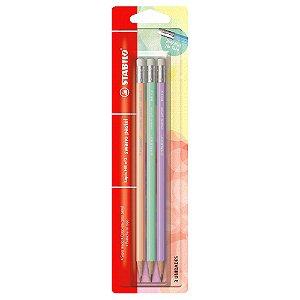 Kit Lápis Stabilo HB Pastel com 3 Cores (Lilás, Verde e Pêssego)