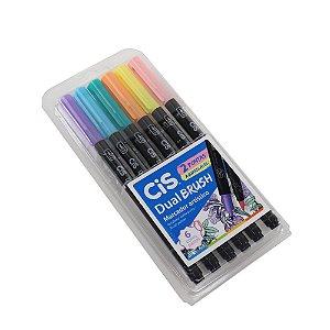Kit Marcadores Artísticos Aquarelável CIS Dual Brush Tons Pastéis com 6 Cores