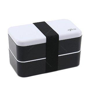 Marmita Lunch Box 2 Compartimentos Preta