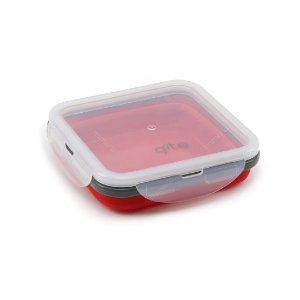Marmita Retrátil de Silicone Quadrada Vermelha