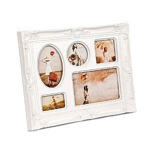 Porta Retratos Barroco Branco 5 fotos