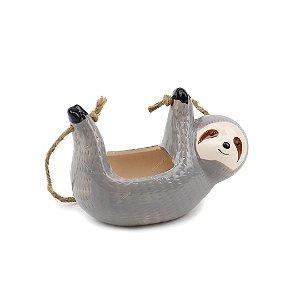 Cachepô de Cerâmica Suspenso Bicho-Preguiça Cinza