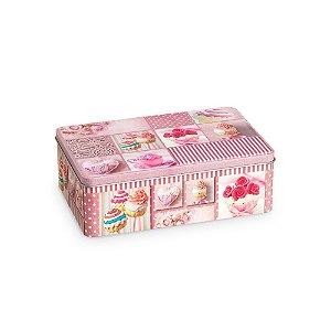 Lata Organizadora Retangular Cupcake Rosa