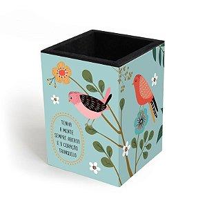 Porta-Lápis Decorado Pássaros