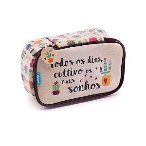 Estojo 100 Pens Box Jumbo de Couro Cactus
