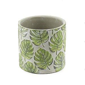 Vaso de Cerâmica Folhas Verdes em Relevo