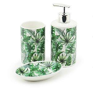 Kit de Banheiro em Cerâmica Folhas Verdes