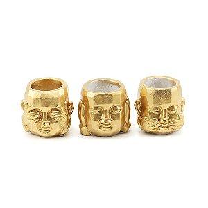 Kit Cachepô Dourado em Cimento Buda