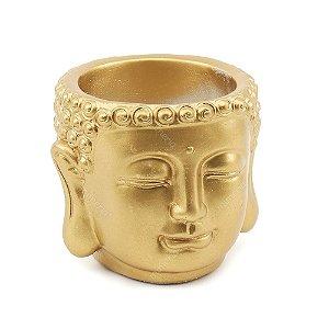 Cachepô Dourado em Cimento Buda Grande