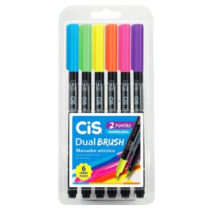 Kit Marcadores Artísticos Aquarelável CiS Dual Brush com 6 Cores Neon