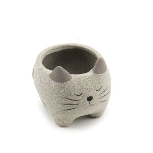 Cachepô de Cerâmica Gato Redondo Cinza