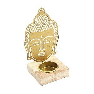 Castiçal de Metal e Madeira Cabeça de Buda Dourado
