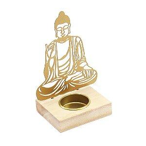 Castiçal de Metal e Madeira Buda Sentado Dourado