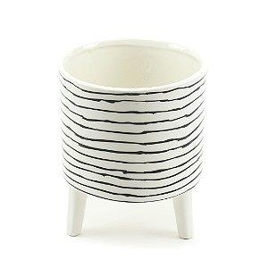 Vaso de Cerâmica Listras Desenhadas à Mão Preto e Branco
