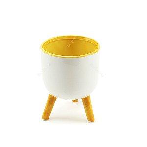Cachepô de Cerâmica com Três Pés Branco e Amarelo Pequeno