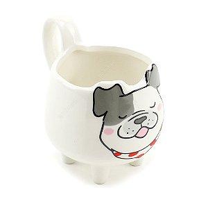 Cachepô de Cerâmica Estampado Bulldog Branco