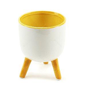 Cachepô de Cerâmica com Três Pés Clean Branco e Amarelo Grande