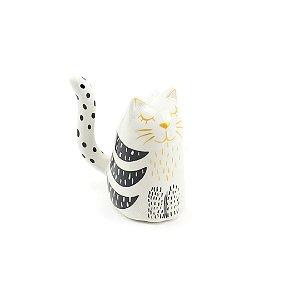Porta-Anel Gatinho de Porcelana Cabecinha Branca
