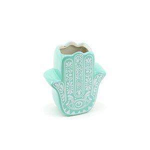 Cachepô de Porcelana Hamsa Mão de Fátima Verde Tiffany Pequeno