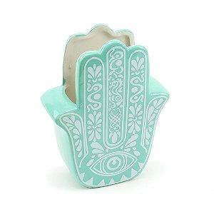 Cachepô de Porcelana Hamsa Mão de Fátima Verde Tiffany Grande