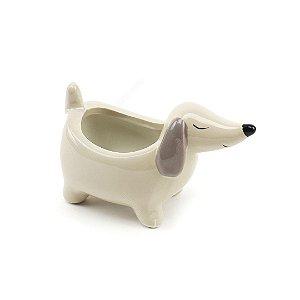 Cachepô de Porcelana Cachorro Basset Branco