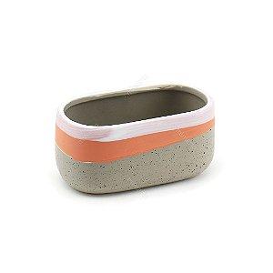 Cachepô de Cerâmica Listra Rosê Cinza Pequeno