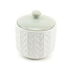 Pote de Cerâmica com Tampa Branco e Verde