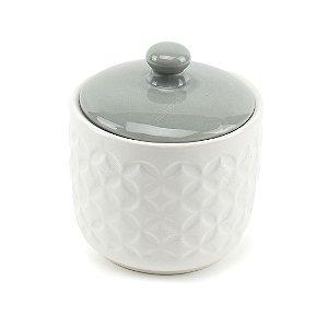 Pote de Cerâmica com Tampa Branco e Cinza