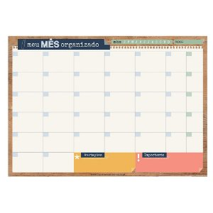 Bloco Planner de Mesa Mensal Office