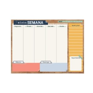 Bloco Planner de Mesa Semanal Office