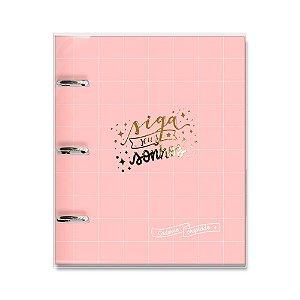 Caderno Argolado Fichário Rosa Quadriculado