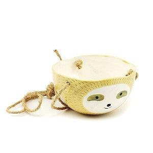 Cachepô de Cerâmica Suspenso Cabeça de Bicho-Preguiça Bege