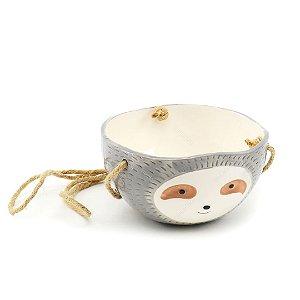 Cachepô de Cerâmica Suspenso Cabeça de Preguiça Cinza
