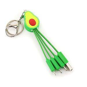 Cabo USB com Chaveiro Abacate Verde