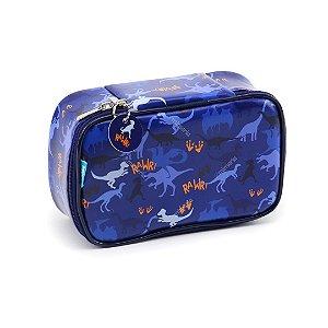 Estojo 100 Pens Box Jumbo Couro Dino Azul