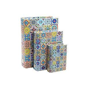 Conjunto 3 Livros Caixa Decorativos Azulejos Coloridos