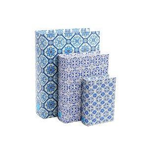Conjunto 3 Livros Caixa Decorativos Azulejos
