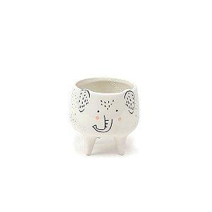 Cachepô de Cerâmica Elefante Pés Charmosos Branco Pequeno