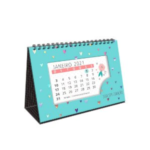 Calendário de Mesa 2021 Corações Holográficos