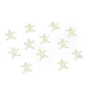Kit Clipes Metálicos Estrela Dourada
