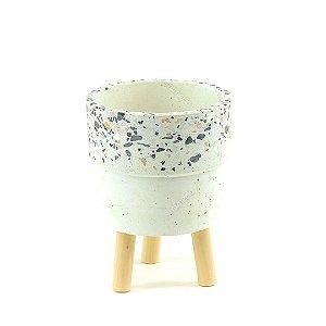 Cachepô de Cerâmica com Pés de Madeira Terrazo Médio