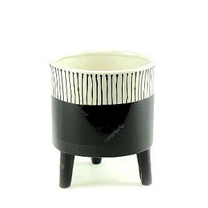 Cachepô de Cerâmica com Pés Noir Grande