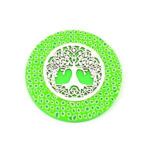 Placa Redonda Mandala Árvore da Vida Verde Grande