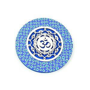 Placa Redonda Mandala Símbolo de OM Azul Grande